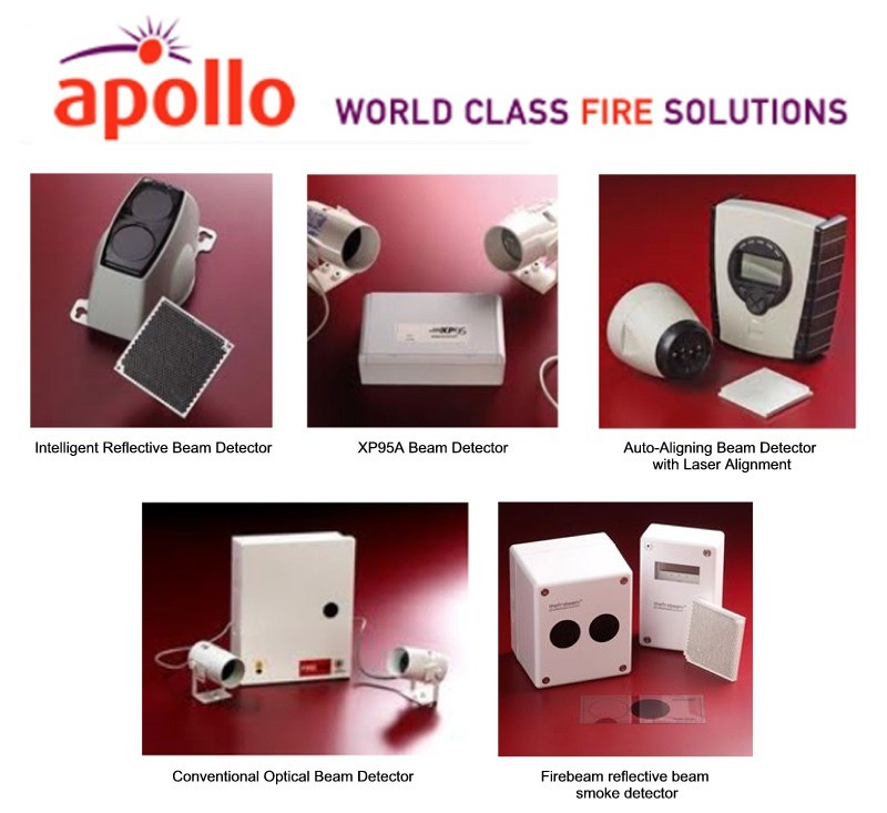 Apollo beam detectors supplied by CLC Fire Alarms, Ireland. Intelligent Reflective Beam Detector, XP95A Beam Detector, Auto-Aligning Beam Detector with Laser Alignment, Conventional Optical Beam Detector and Firebeam reflective beam smoke detector