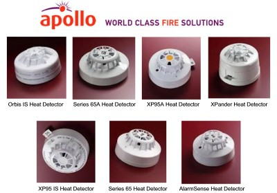 Examples of Apollo Heat Detectors supplied by CLC Fire Alarms, Co. Kildare  - Orbis IS Heat Detector, Series 65A Heat Detector, XP95A Heat Detector, XPander Heat Detector, XP95 IS Heat Detector, Series 65 Heat Detector, AlarmSense Heat Detector