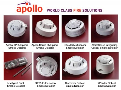 Examples of Apollo smoke detectors supplied by CLC Fire Alarms throughout Ireland: XP95 Optical, Series 65 Optical, Orbis IS Multisensor, AlarmSense Integrating Optical, Intelligent Duct, XP95 IS Ionisation, Discovery Optical and  XPander Optical.
