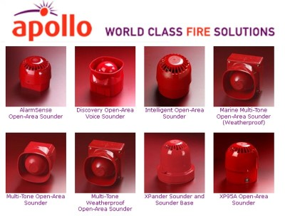 Apollo Sounders from CLC Fire Alarms, Ireland - AlarmSense Open-Area Discovery, Open-Area Voice, Intelligent Open-Area, Marine Multi-Tone, Open-Area Weatherproof, Multi-Tone Open-Area, Multi-Tone Weatherproof Open-Area, Xpander & XP95A Open-Area Sounder